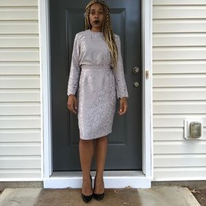 Metallic Silver 2 Piece Skirt Suit